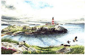 Eilean Glas Lt Ho Scalpay. Watercolour