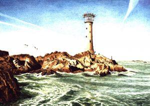 Les Hanois Lt Ho, Guernsey. Watercolour