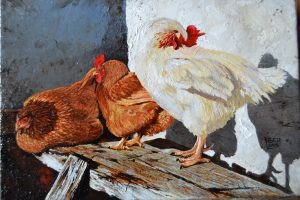 The Cock And His Hens. Oil