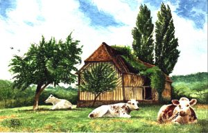 The Old Barn, Normandy. Watercolour