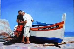 25.de.Abril Sesimbra, W. Portugal. Oil fishing boat paintings