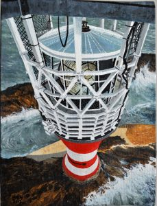The Smalls Lighthouse, Pembs, Helipad View, Oct 93. Oil
