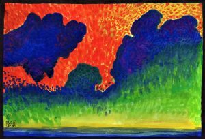 Fauvism Sunset and Clouds (Watercolour and Felt Tip Pens on Cartridge Paper)