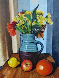 Brown and Blue Vase (Oil on Canvas)