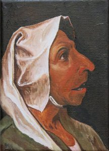 Head of an Old Peasant Woman (Oils on Canvas)