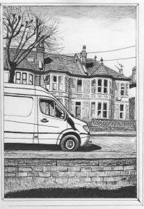 Barry Hawkins - That Van's Parked Outside Us Again... (pen & ink)