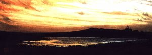 Sunset Over Skokholm Pond. Watercolour
