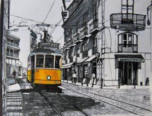 Lisbon E25 Tram (Pen and Ink)