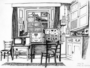 Lundy South Lighthouse Radio Room (pen and ink on cartridge paper)
