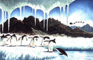The Night Before Christmas in Antartica with Adelie Penguins (watercolour on Bockingford paper)