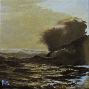 Monster Wave, Skerries Lighthouse (oils on canvas)