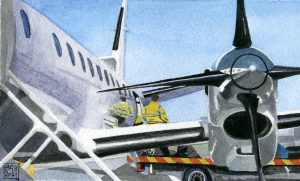 Saab 340 Aircraft at Kirkwall Airport (watercolours on Bockingford paper)