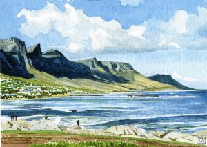 Camp Bay at the Twelve Apostles Mountains (watercolours on Bockingford paper)