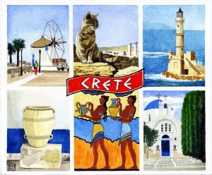 Postcard From Crete (watercolour, pen and ink on Bockingford paper)