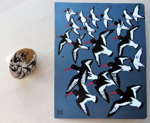 Oystercatchers and Swifts (Enamel paint on Auto Spray Painted Aluminium Panel and Black Marker)