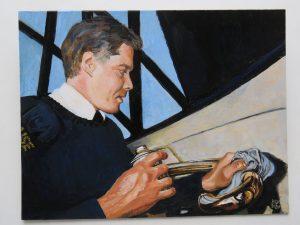 Barry Hawkins Self Portrait (Oils on Card)