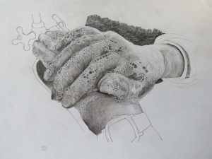 Angela Washing Her Hands The NHS Way, (Whilst Singing Happy Birthday Twice) (Pencils on Cartridge Paper)
