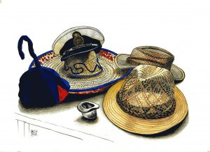 Hats (felt tips, pen and ink and coloured pencils)