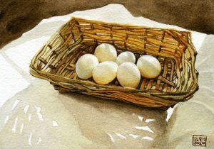 Six White Eggs (oils)