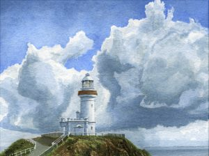 Clouds at Cape Byron, NSW (watercolour on Bockingford paper)